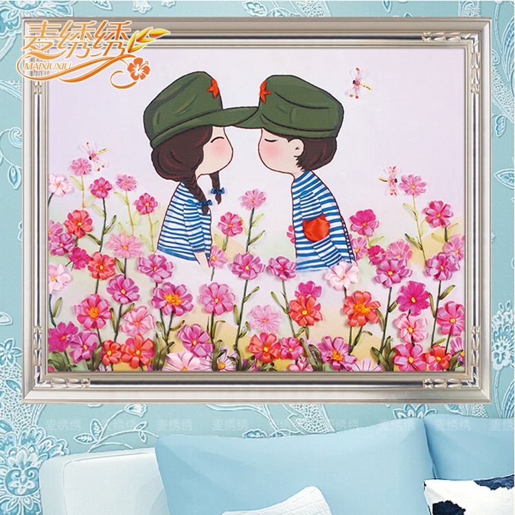 The new 3d color ribbon embroidery ribbon embroidery paintings living room bedroom wedding happiness miss card through a couple printed cross