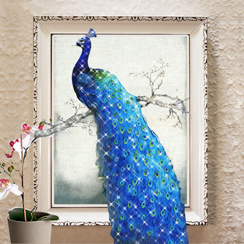 The new 5d diamond diamond paste diamond stitch mona lisa painting the living room full of diamond drilling holes peacock diamond embroidery stitch bedroom sharply