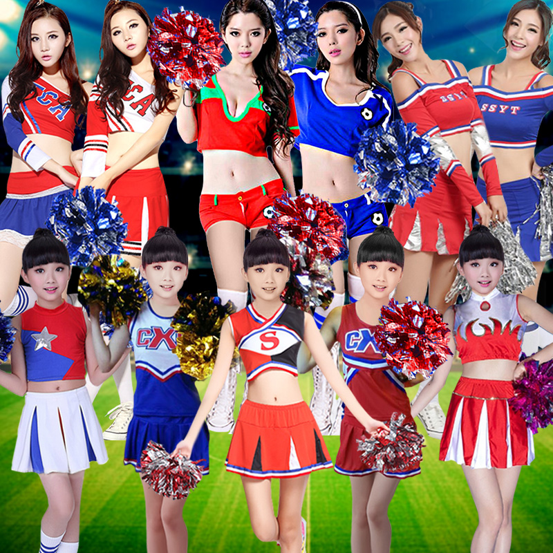 The new adult children of men and women foot ball cheerleaders cheerleading costume costumes performance clothing baby clothing stage clothing