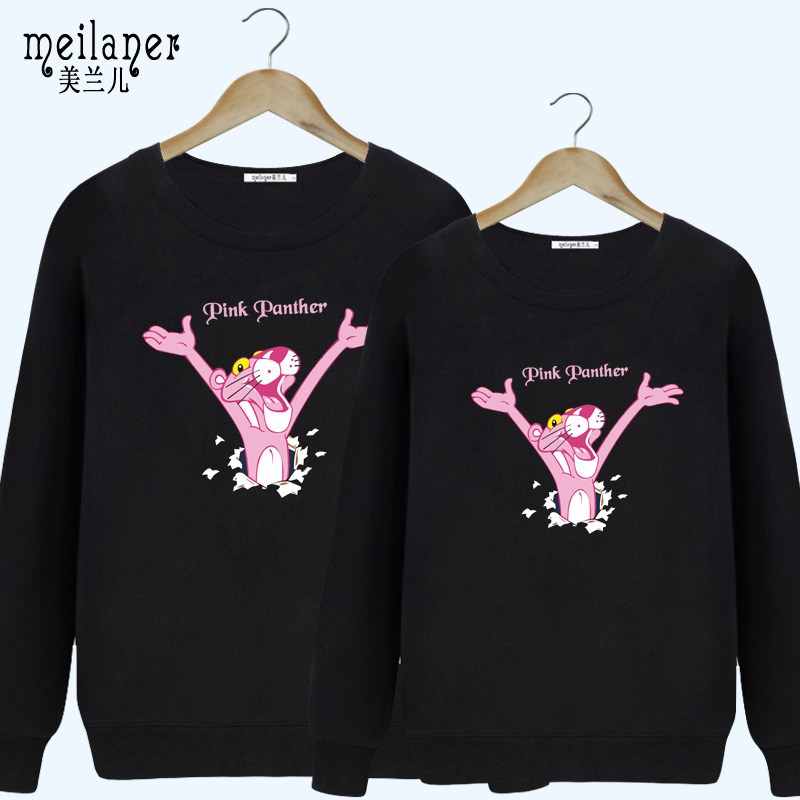 The new autumn and winter korean version of the pink panther cartoon sports and leisure loose round neck hedging wei clothes for men and women coat lovers