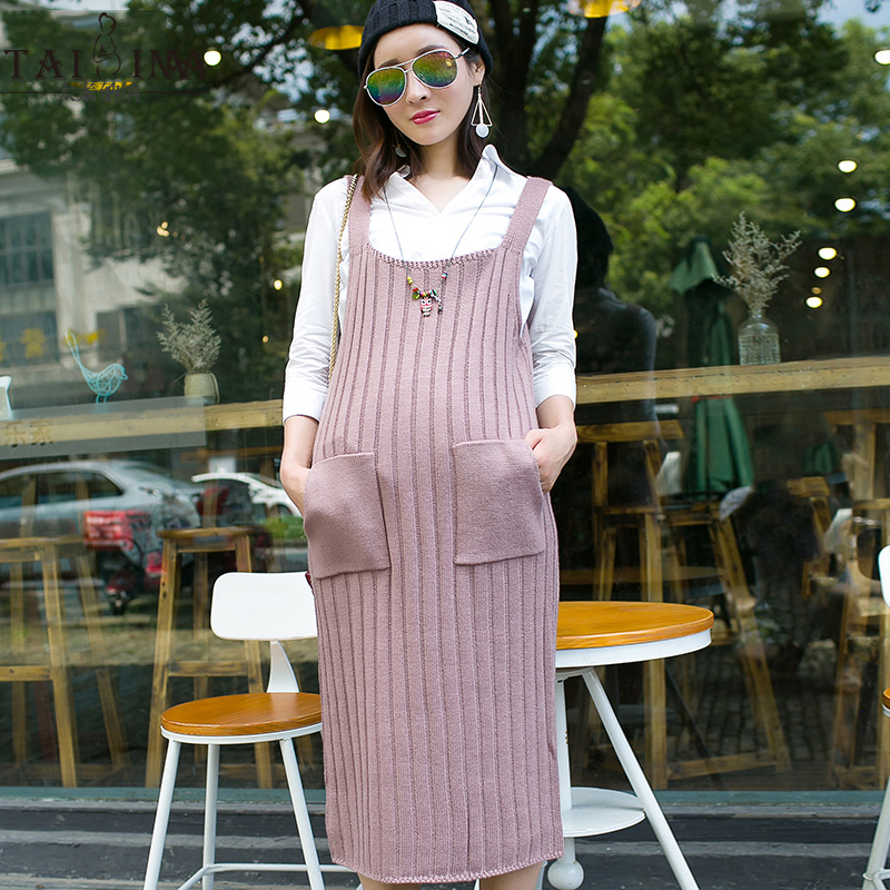 Get Quotations · The new autumn and winter maternity pregnant women knit  dress sleeveless dress strap dress and long 5732629d6327