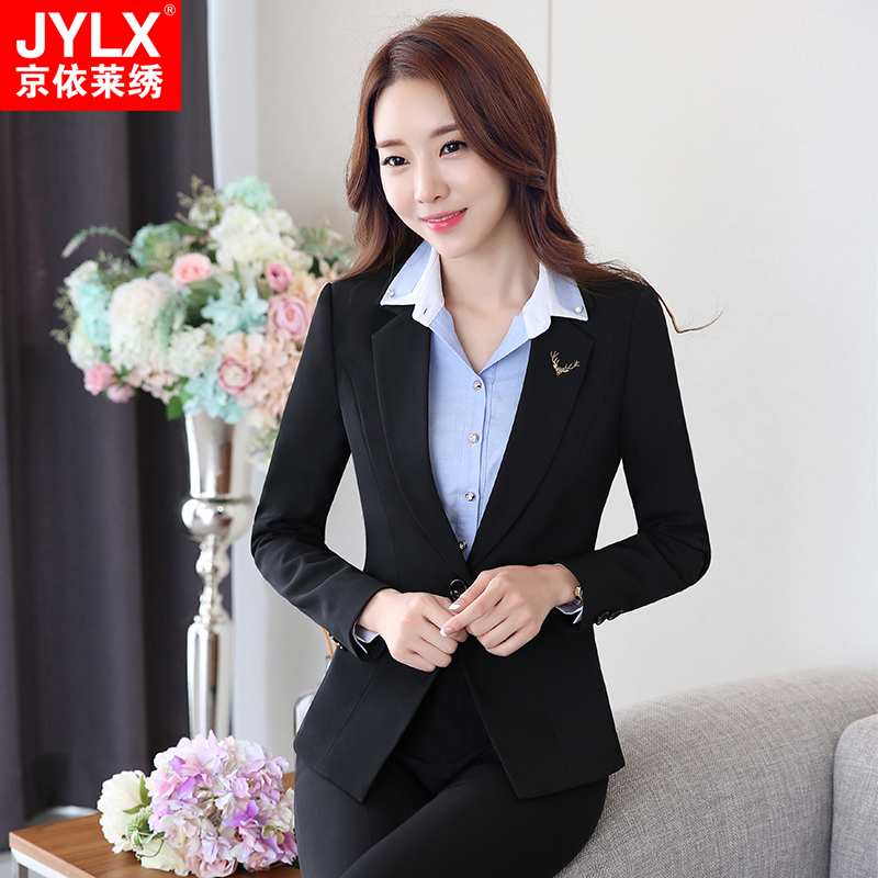 The new autumn and winter wear women's ol interview ladies dress suit overalls interview chaps sleeved winter clothes