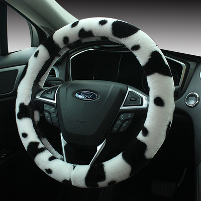 The new black and white leopard pattern cows cute plush winter car steering wheel cover car steering wheel cover to cover