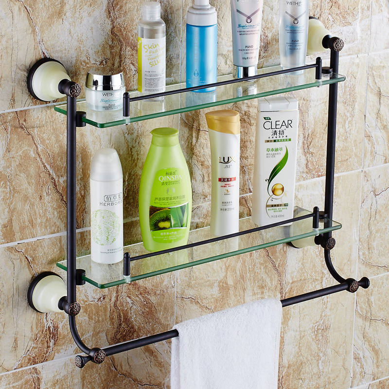 The new black/bronze antique copper double vanity euclidian glass shelf with towel bar rack