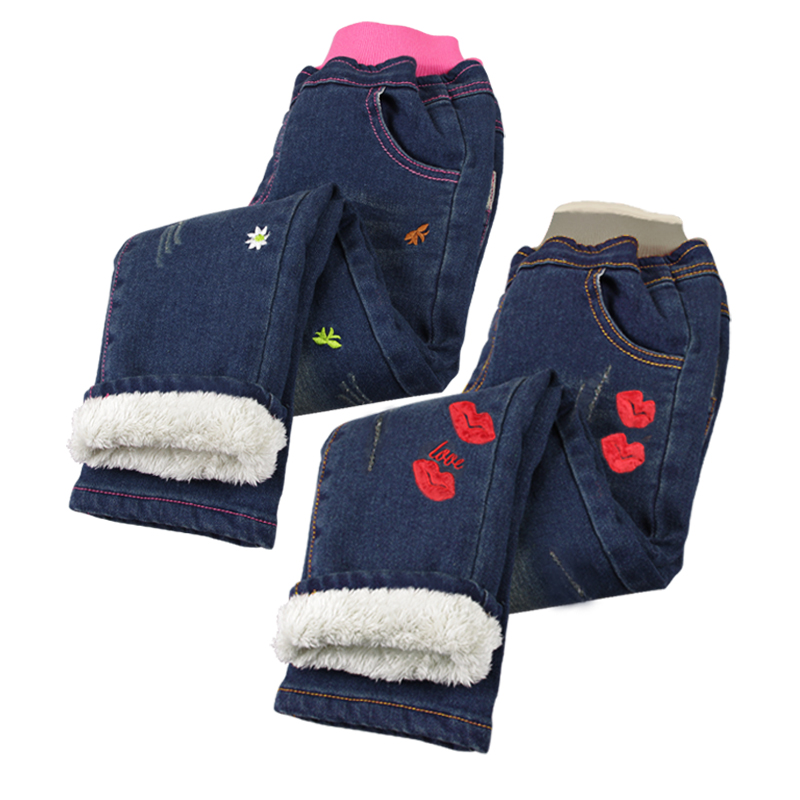 The new children's clothing girls plus thick velvet jeans pants children warm winter pants long pants trousers korean boy pants tide
