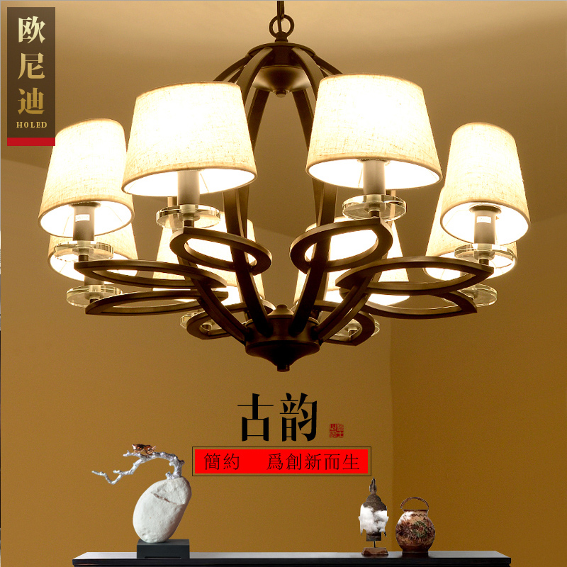 The new chinese modern wrought iron chandelier lamp creative chinese style living room minimalist restaurant wrought iron bedroom den lighting