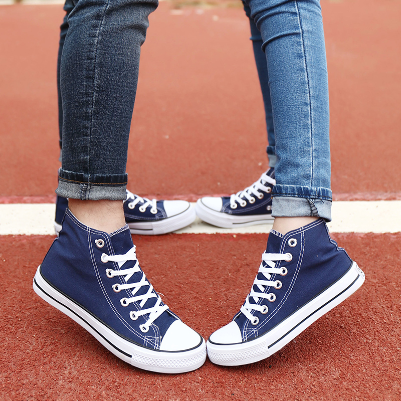 The new classic high shoes canvas shoes korean tidal couple leisure shoes flat shoes for male and female students to help low shoes