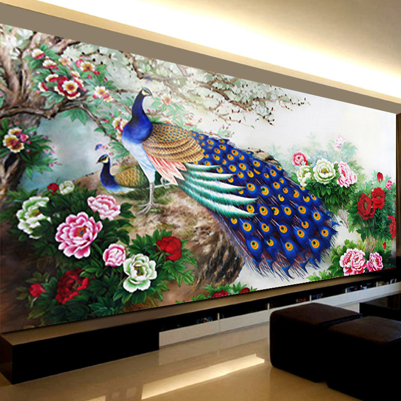 The new diamond painting living room full of european painting style minimalist modern round diamond diamond embroidery stitch blossoming peacock