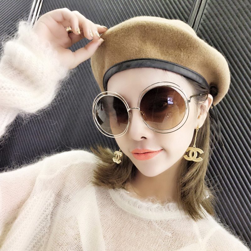 9d7ae98d2 Get Quotations · The new double circle round frame sunglasses female sunglasses  large frame sunglasses wild tide models retro