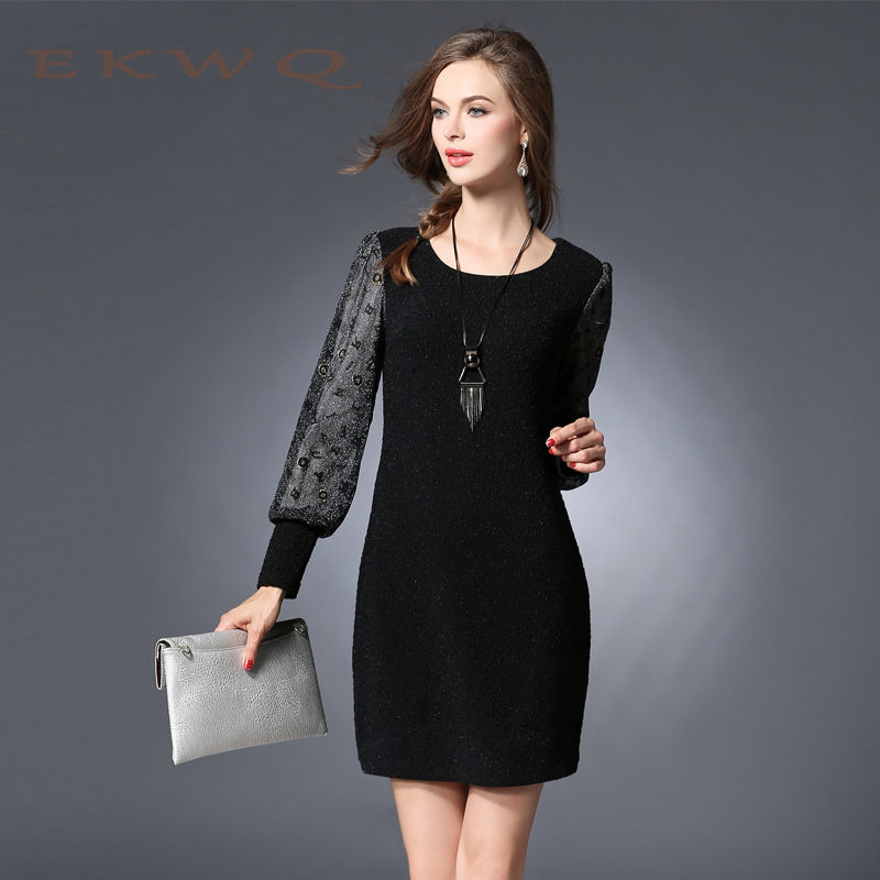 The new european and american ekwq ms. 2016 winter youth fashion casual long sleeve round neck dress skirt 8382