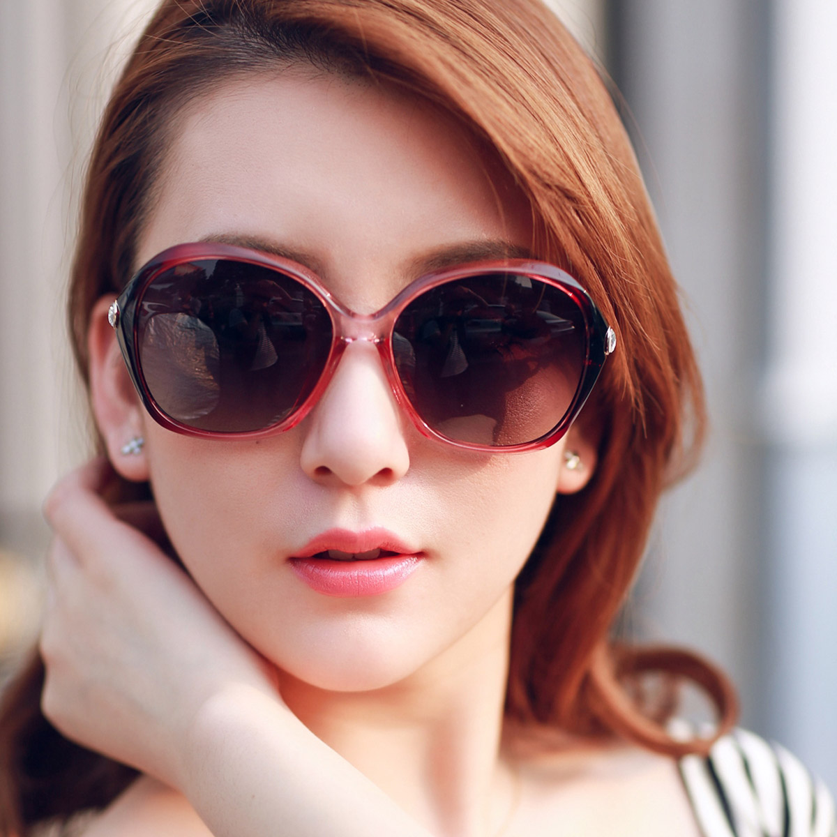 The new female sunglasses large frame sunglasses female ultralight myopia can be equipped with myopia sunglasses polarizer tide