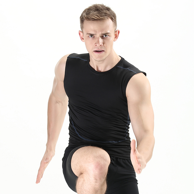 The new fitness stretch tights basketball bottoming vest male spring and summer outdoor running sports compression clothing vest
