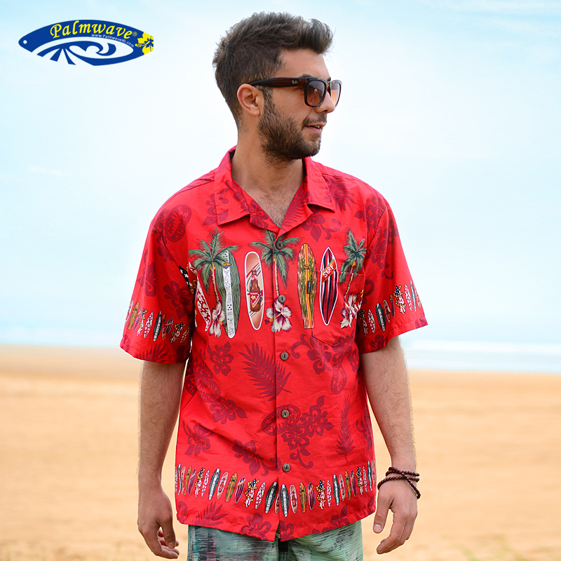 f99bb98fc0 Get Quotations · The new hawaii beach casual men's shirts printed cotton  loose big yards short sleeve shirt free