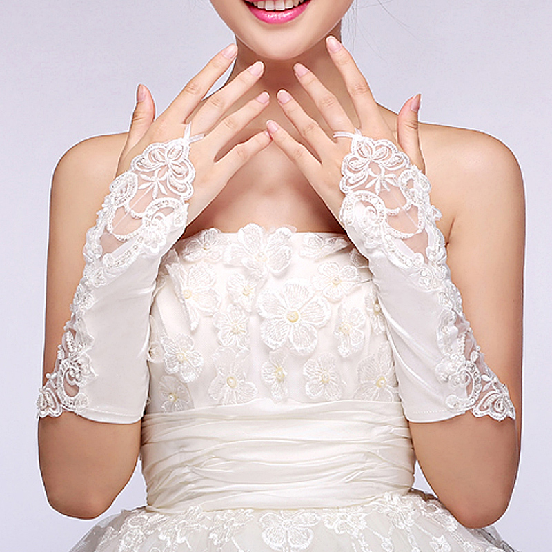The new korean fashion flash diamond bow short paragraph lace bridal gloves fingerless bridal wedding accessories 09