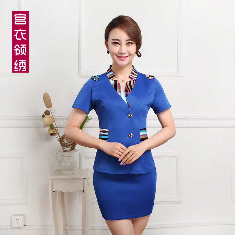 The new korean skirt technician overalls beautician overalls summer hotel front desk 2015 welcome female uniforms