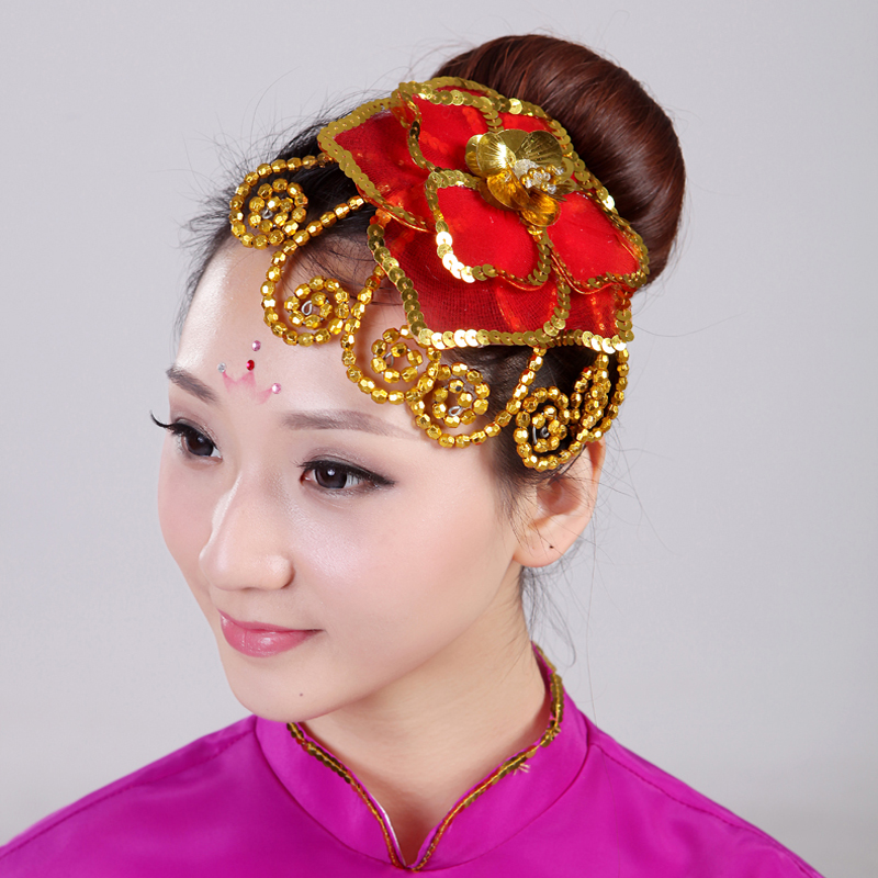 The new modern dance headdress flower head stage costumes ethnic younger folk dance classical dance headdress feather headdress flower