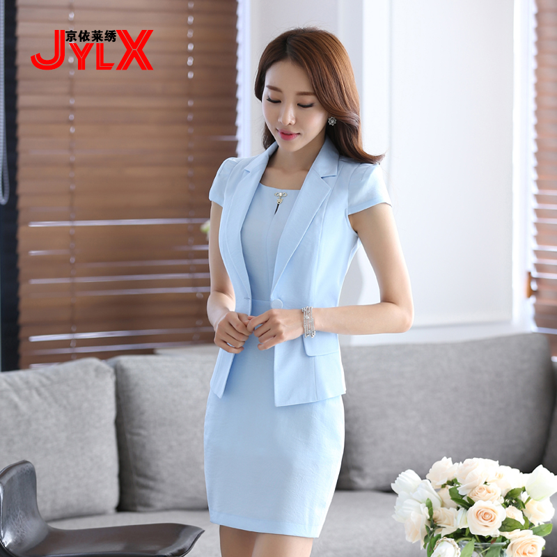 The new ms. career suits short sleeve light blue pink dress suit small suit skirt ladies short sleeve summer