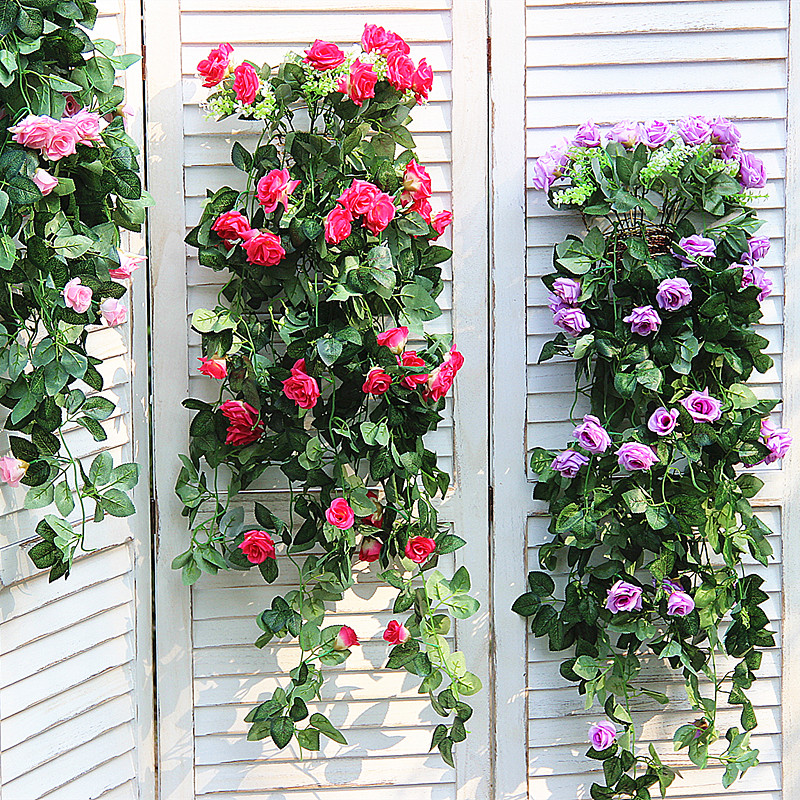 The new promotional 19 roses simulation rattan wall hanging home interior living room decorative flower artificial flowers