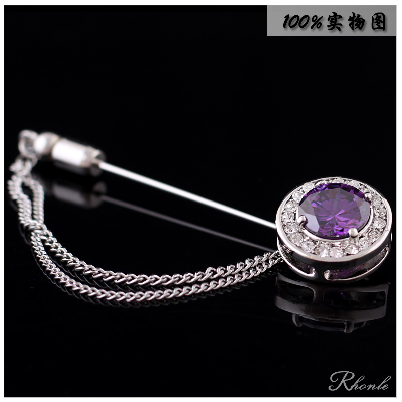 The new round purple crystal rhinestone brooch with a chain of high quality men and ladies suit jacket dress corsage gift