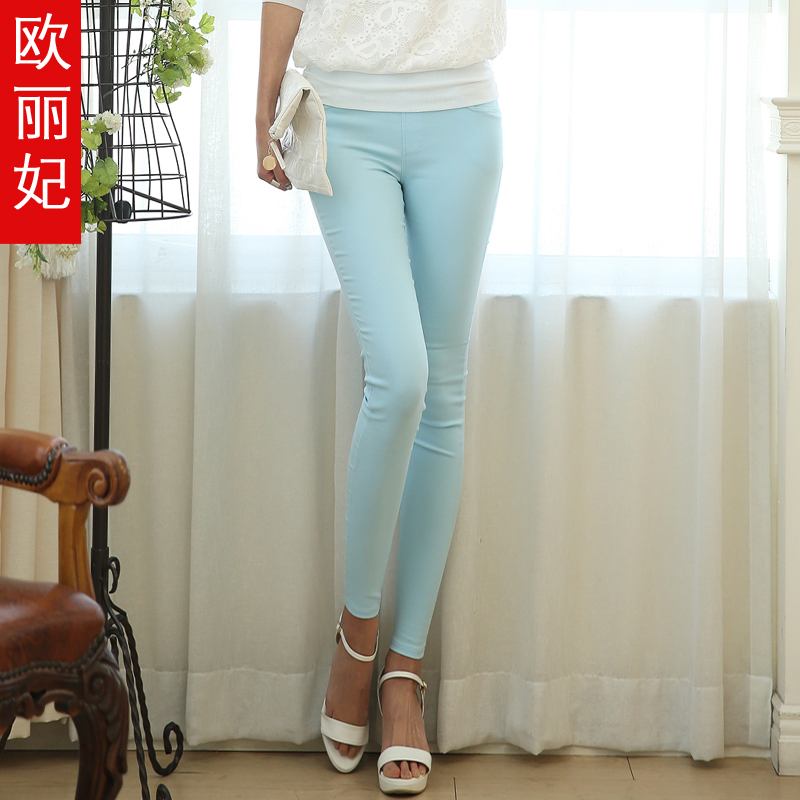 The new spring 2015 women's candy colored pencil pants korean female feet pants casual pants were thin outer wear leggings