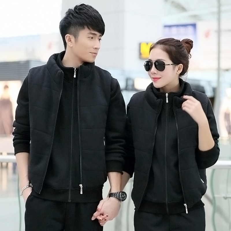 The new velvet sportswear sports suit collar men and women lovers long sleeve shirt + pants piece