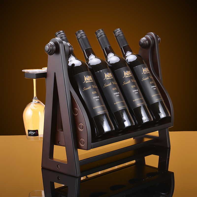 The new wine rack wooden wine rack can hold 4 cigarettes a swing wood wine rack wooden wine rack wine rack home decoration gift