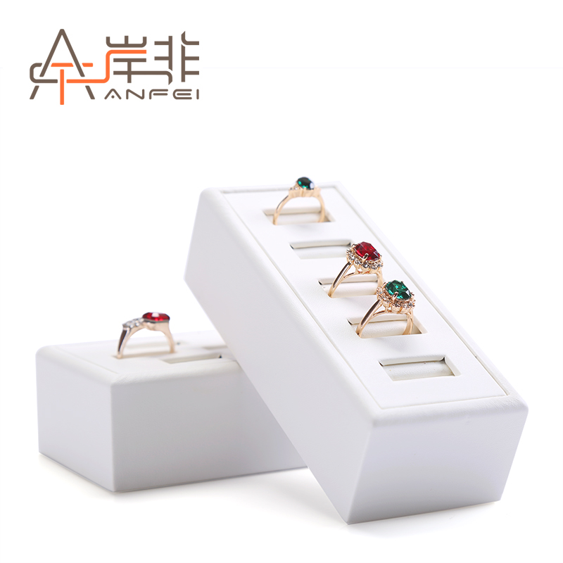 The other side of the non pu leather counter jewelry ring display stand jewelry display jewelry tray props five holes seven holes