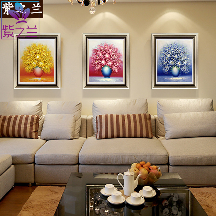 The purple orchid pure hand painted oil painting flowers triple modern minimalist bedroom hallway mural paintings decorate the living room