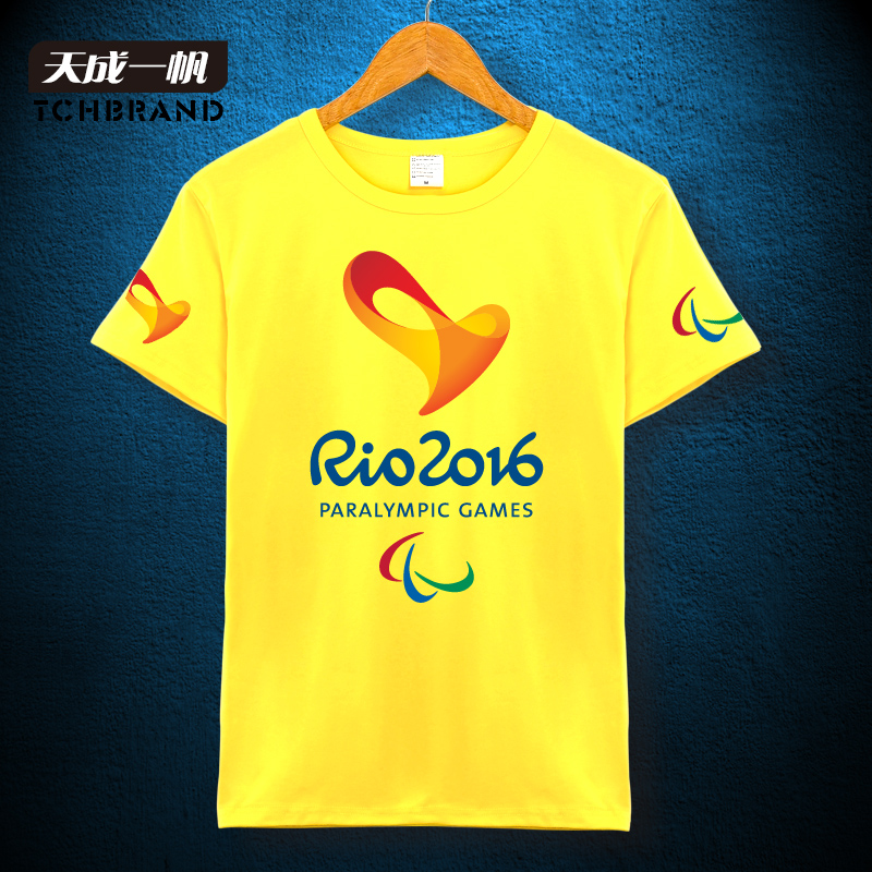 The rio paralympic mascot emblem brazil cultural monuments country theme t-shirt shirt solid color cotton large size men