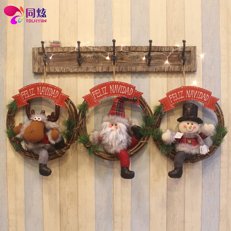 The same hyun old deer snowman christmas wreath rattan cane christmas tree decorations christmas wreath door hanging pendant