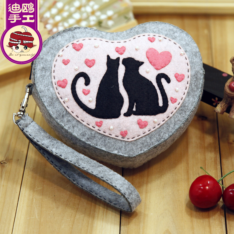 There are cats love hand bag purse free cutting di gull handmade diy fabric material package production