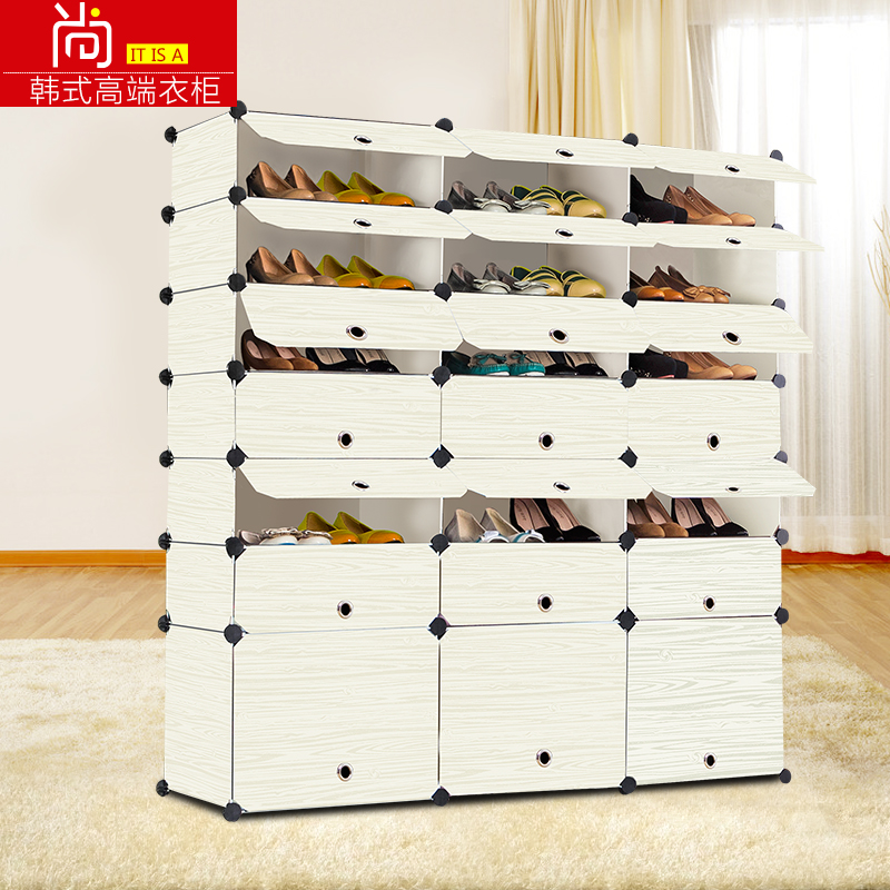 There is a simple modern minimalist shoe lockers assembled multilayer plastic dust shoe shoe storage cabinet combination resin