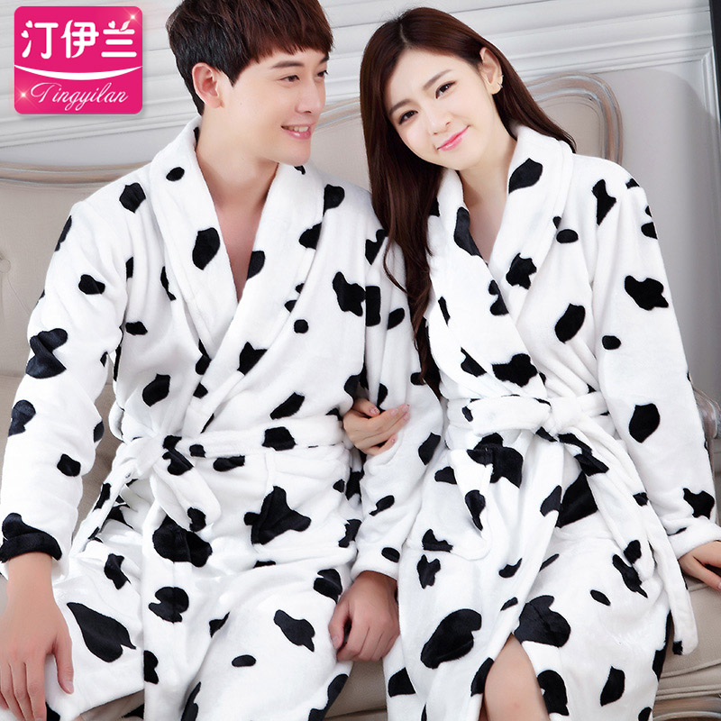 e7a0613bba Get Quotations · Thick flannel nightgown bathrobe bathrobes for men and  women lovers robe autumn and winter coral fleece