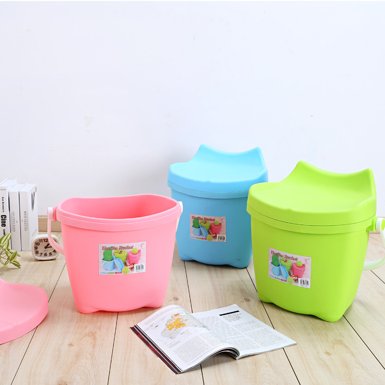 Thick multi multi trash storage bucket with a lid bucket bath basket storage basket toy storage barrels used when the seat