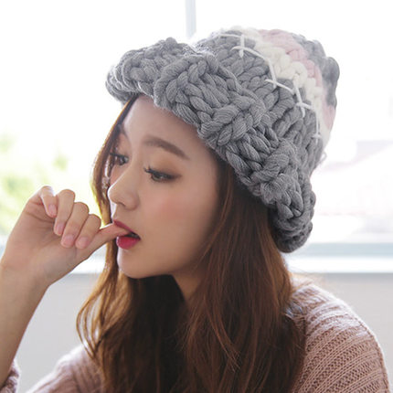 Thick winter wool hat female korean tidal thick handmade tianbao warm month of autumn and winter hat knitted hat korean students