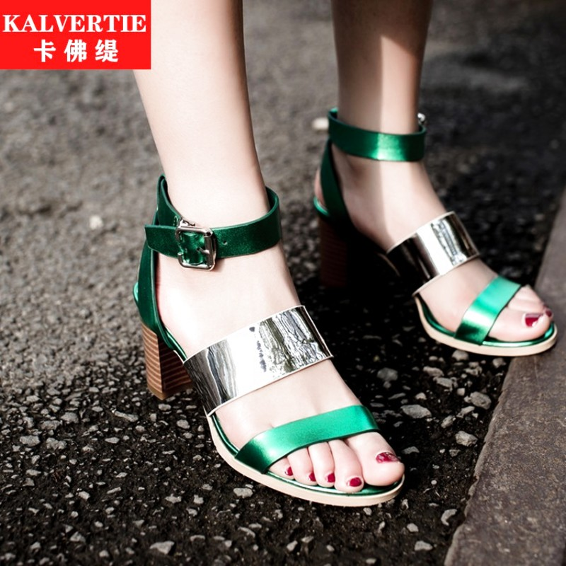 Thick with korean fashion european leg of summer spell color gray rubber sandals cool boots women shoes