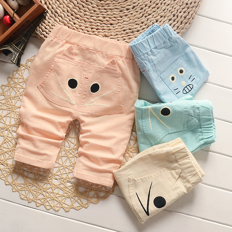 Thin summer casual pants shorts for boys and girls in small children's clothing 2016 summer cotton linen pants pant boy pants