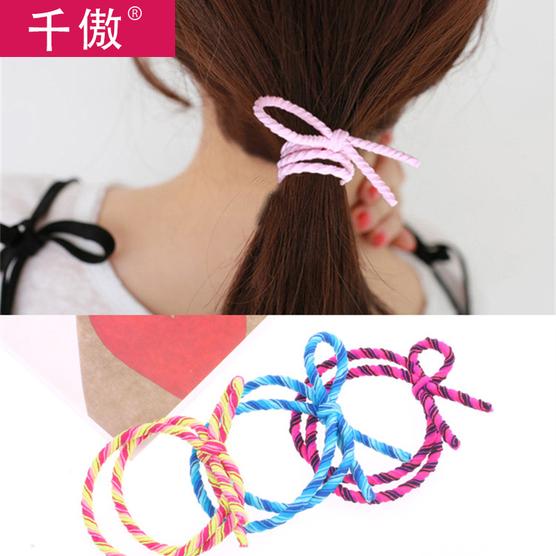 Thousands of united states a quarter-28 japan and south korea head ornaments knot simple and tied ponytail hair band hair rubber band tousheng korean hair accessories hair rope female