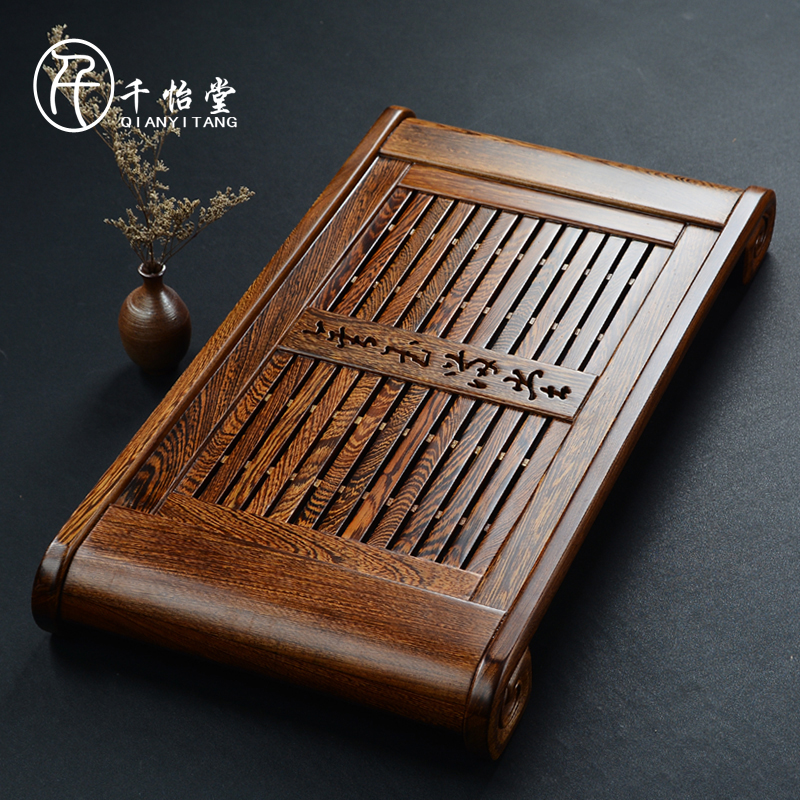 Thousands yi hall wenge wood tea tray drawer mahogany tea sets rosewood ebony wood tea tray tea sea drainage type dual disk