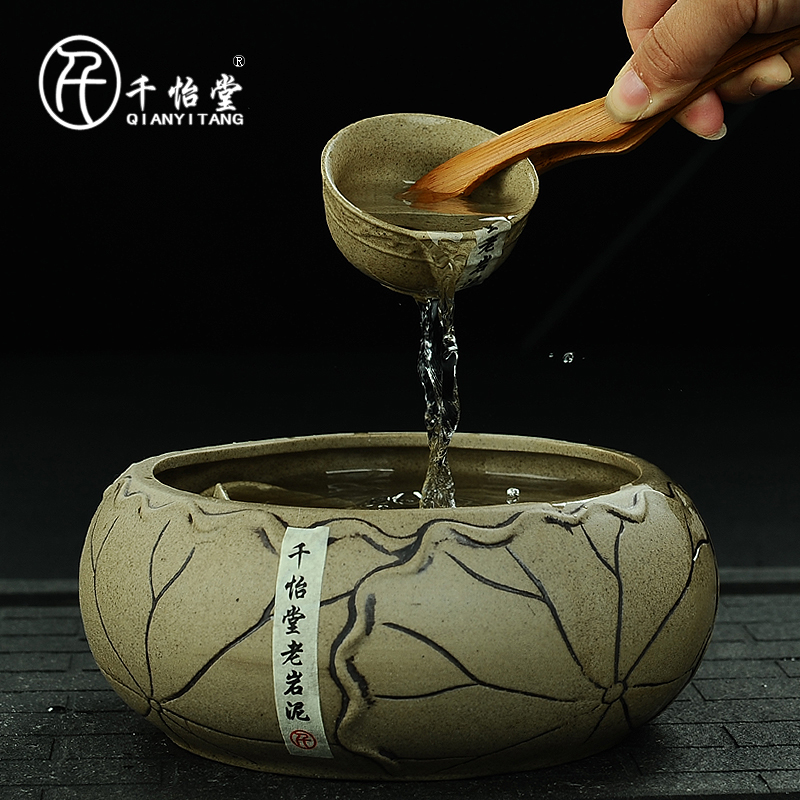 Thousands yi tang archaized old rock mud taiwan stoneware tea wash wash wash bowl large ceramic pen wash pots faceplate ages