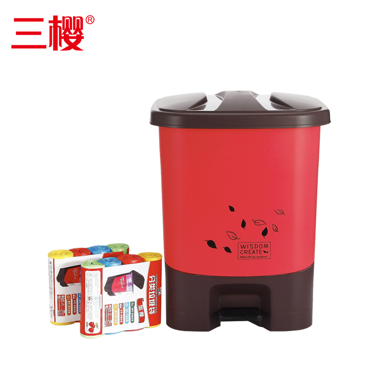 Three cherry hotel kitchen outdoor foot plastic trash can with a lid large outdoor sanitation trash sorting bins