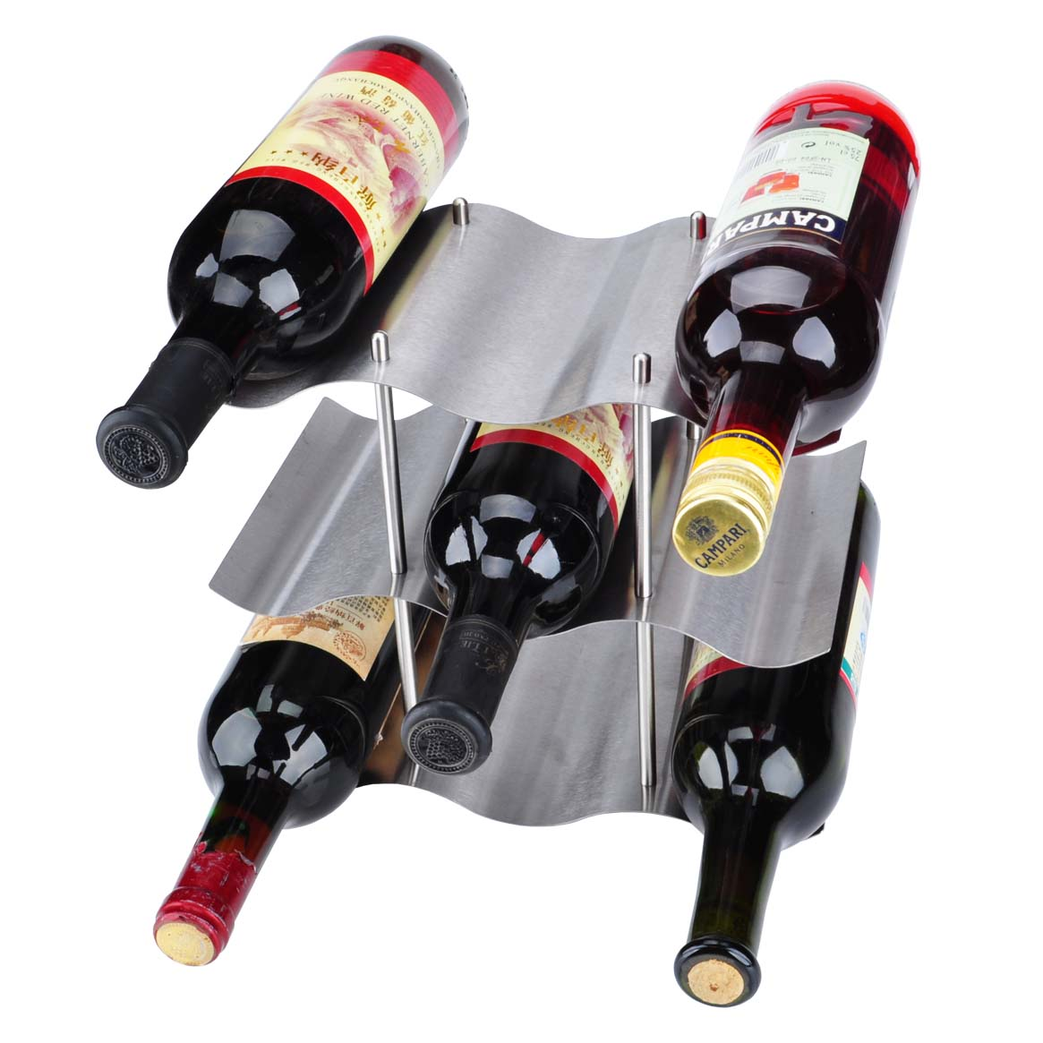 Three layers of stainless steel wine rack wine rack wine rack creative wine rack wine bar wine rack fashion ornaments home