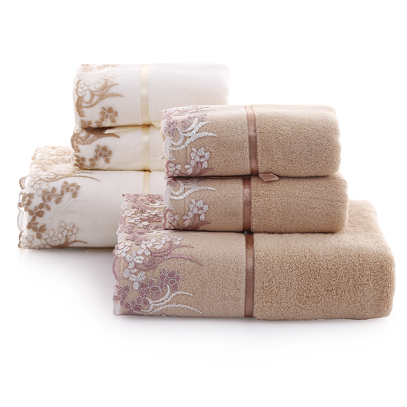 Three sets of lace cotton towel towel 2 + 1 set soft absorbent towel can be equipped with gift