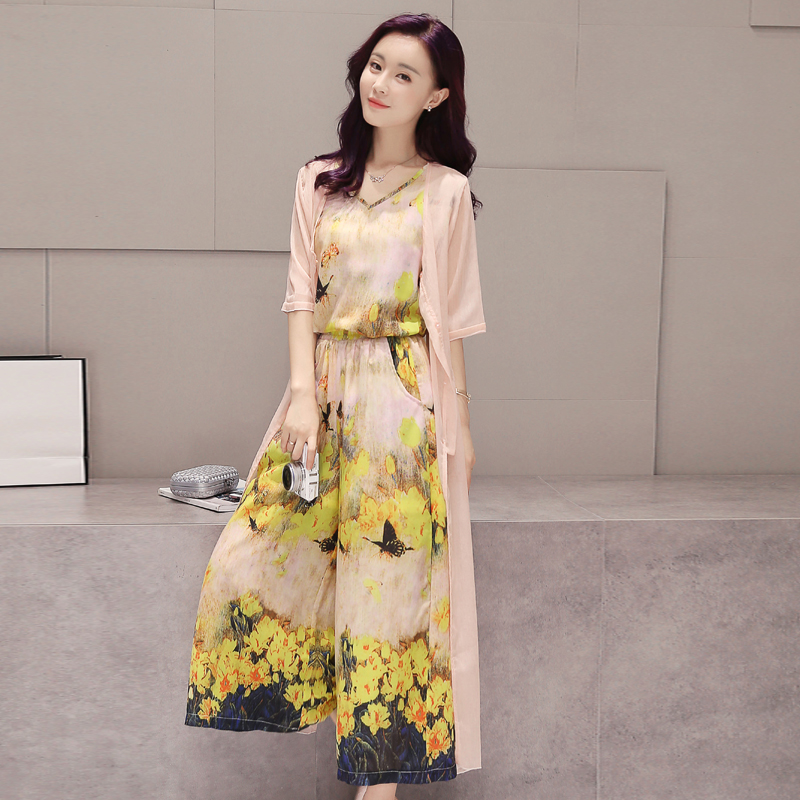 Three sets of women's summer 2016 new pantyhose korean version of the pink suit printing loose tight waist loose sun shirt