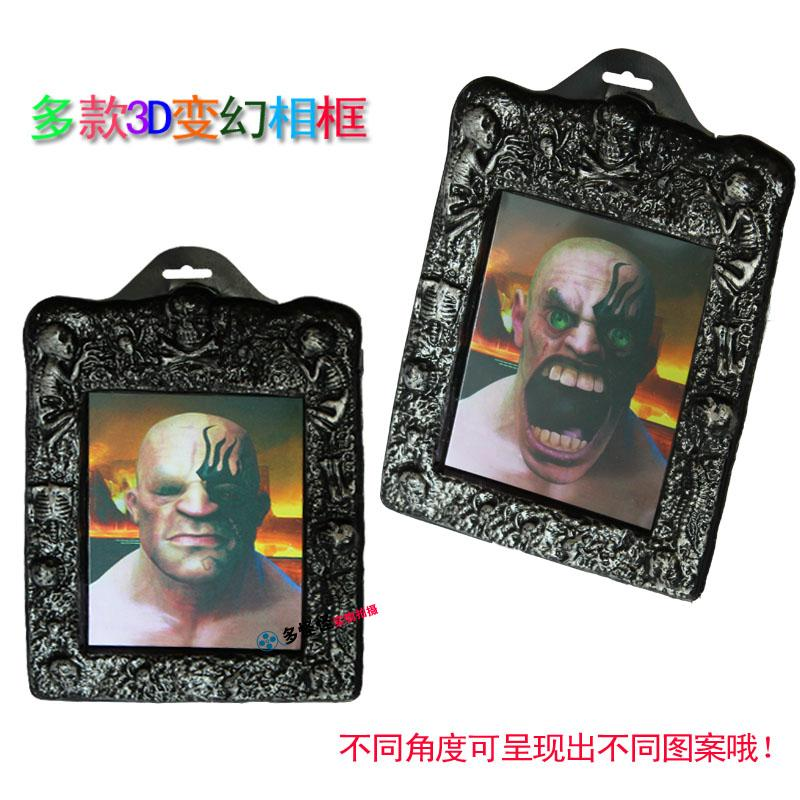 Three strange halloween haunted house horror halloween party ktv bar supplies decorative pendant 3d variant magic frame new