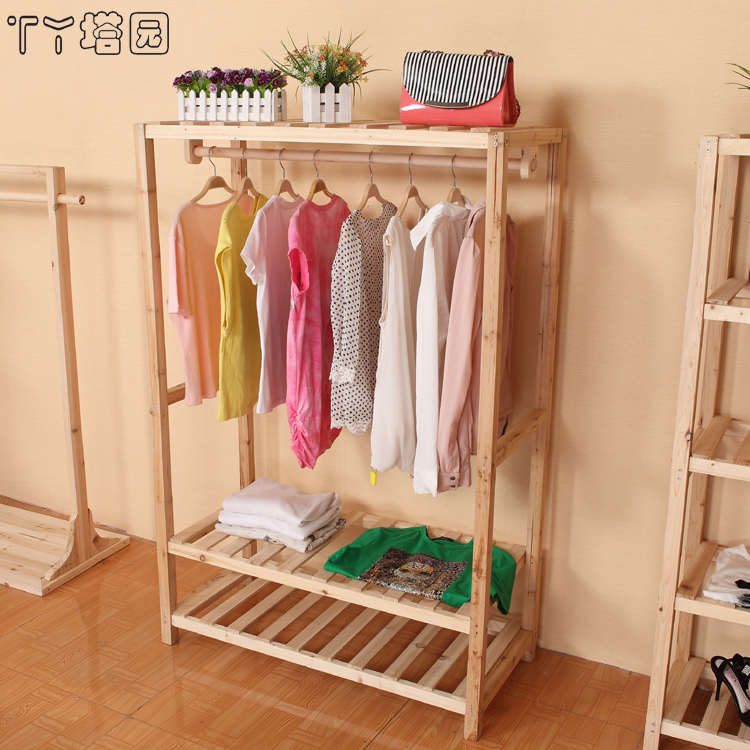 Three wooden screen wood hangers clothing display rack clothes shop fitting shelves ta yuan