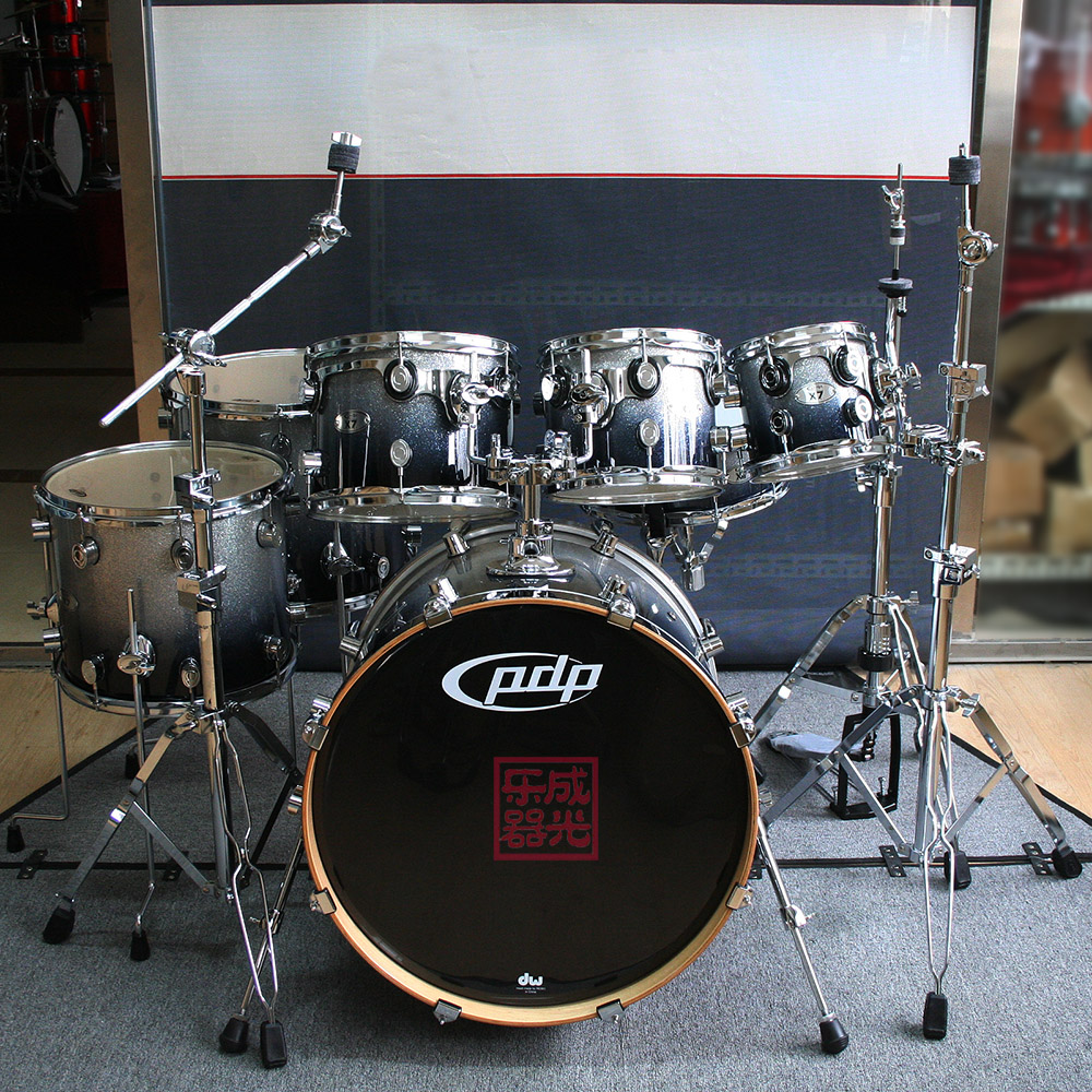 [Tianjin into the light] pdp (dw) x7 full maple seven silver and black drum drum kit drums excessive