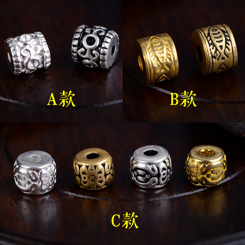 Tibetan brass spacer beads xingyue bodhi barrel bead spacer beads accessories 108 beads bracelets chain carved beads disciple