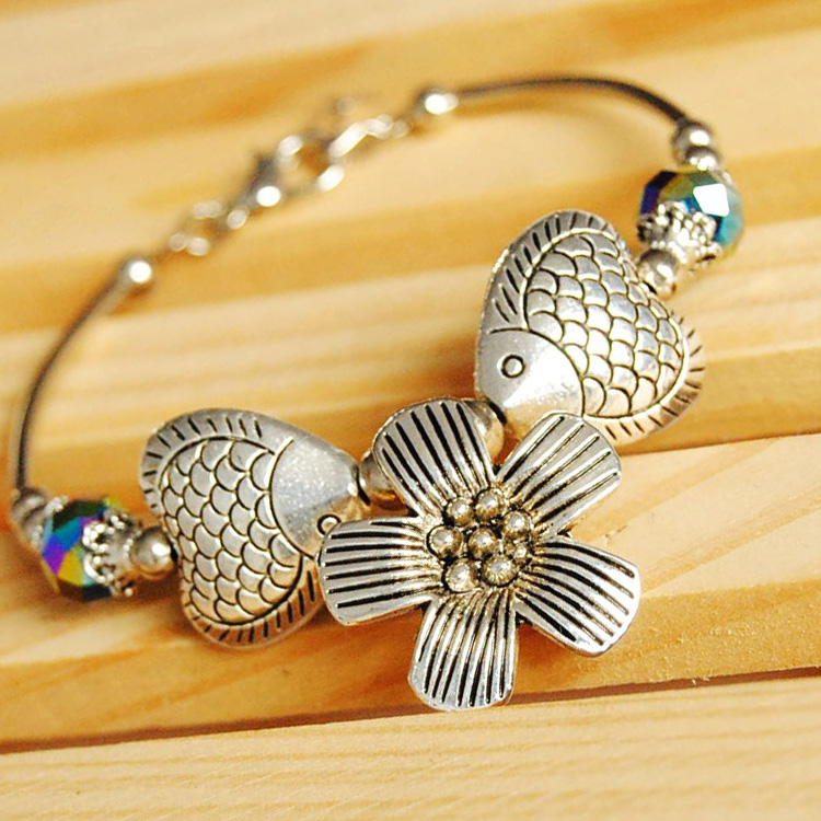 Tibetan silver miao silver retro silver bracelet kissing fish sunflowers national wind bracelet diy handmade jewelry materials package