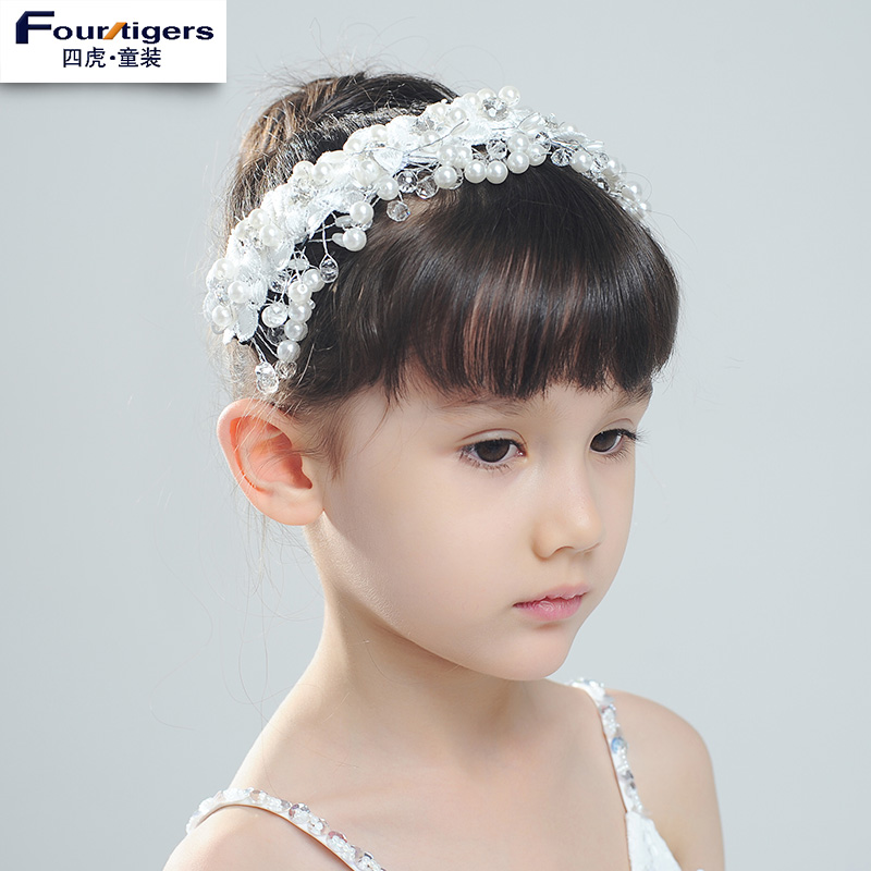 Tigers childrenwear crown headband children hair accessories diamond pearl white flower girl dresses girls jewelry wreath headdress